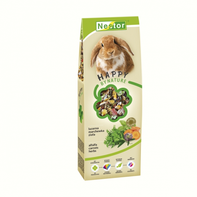 Premium food for rabbits with alfalfa, carrots and herbs