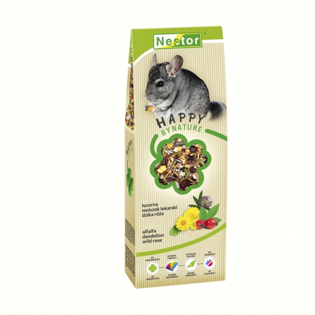 Premium food for chinchillas with alfalfa, dandelion and wild rose