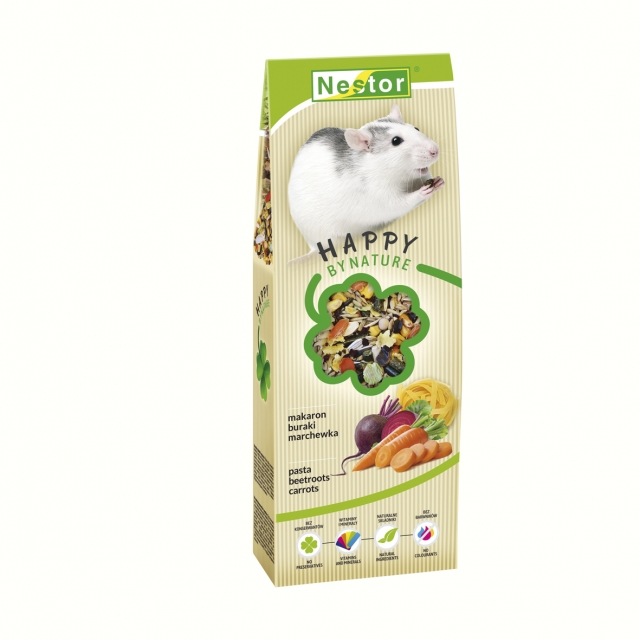 Premium food for rats with pasta and vegetables